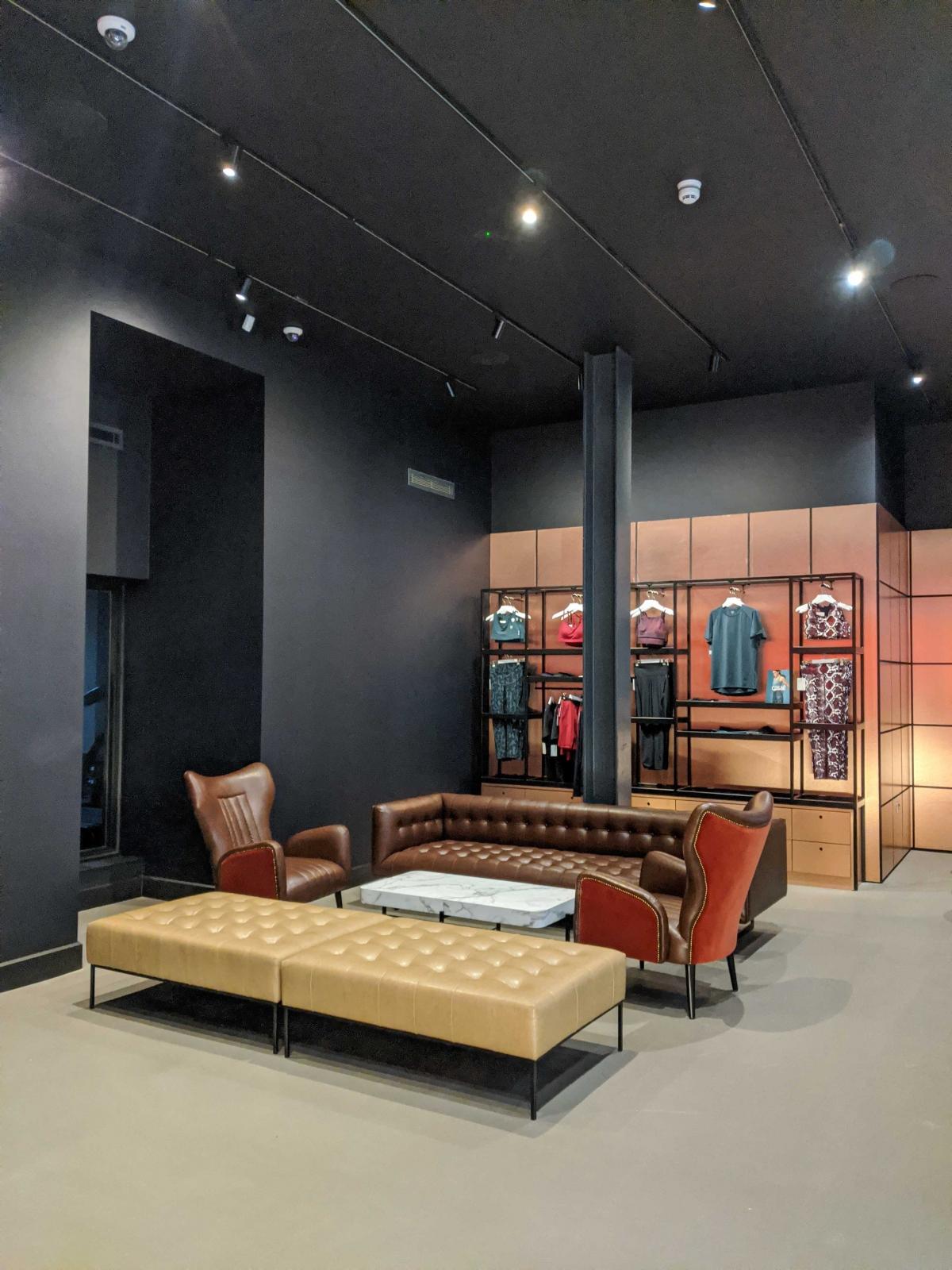 Blaze Studio Birmingham lounge area with sports clothing shopping area