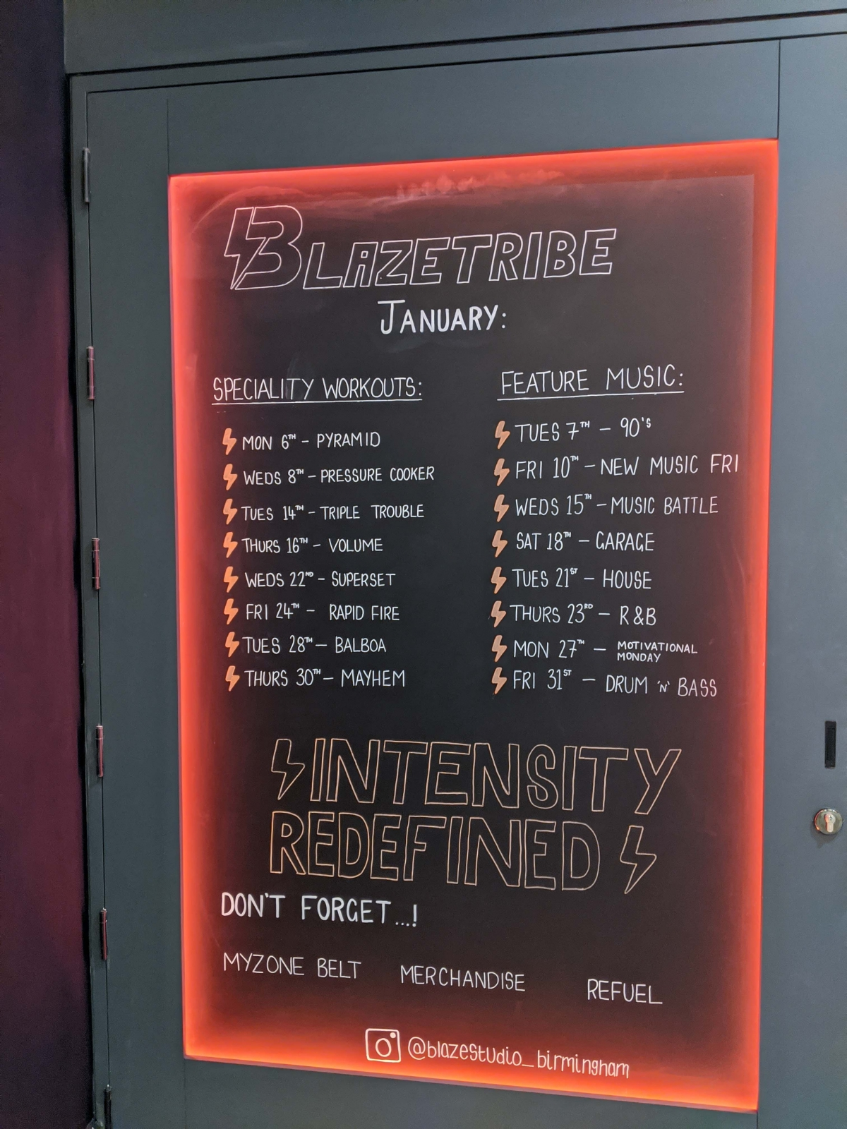 Blaze Studio Birmingham BlazeTribe music and speciality workout schedule on a black board