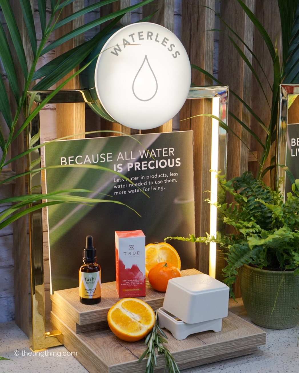 Holland and Barrett clean and conscious beauty commitment to waterless products display