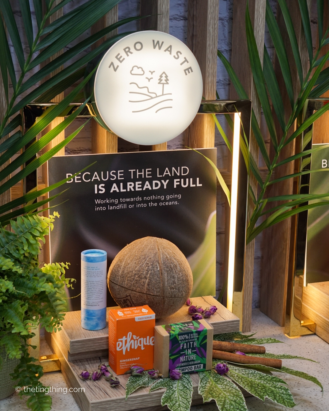 Holland and Barrett clean and conscious beauty commitment to zero waste display