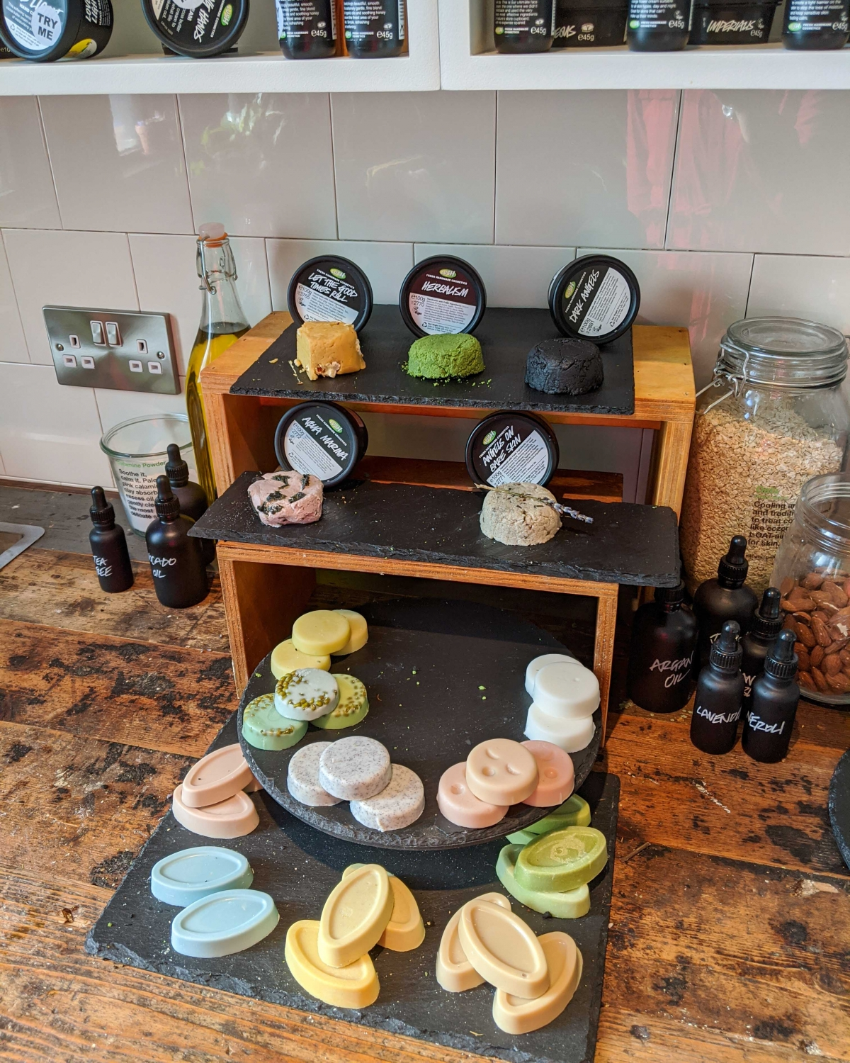Display of packaging free products at Lush Spa