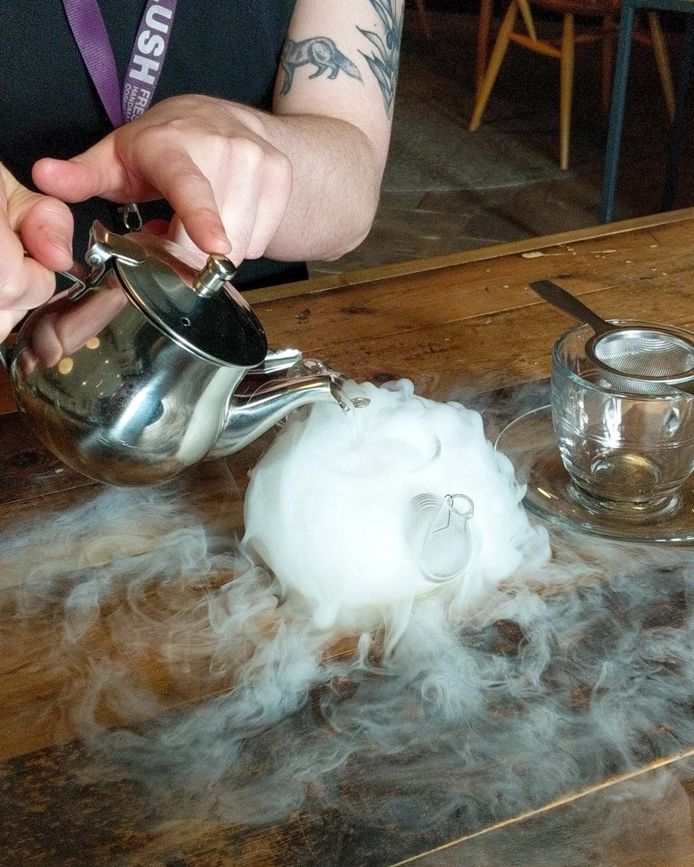 Post Lush Spa Renaissance treatment tea being poured