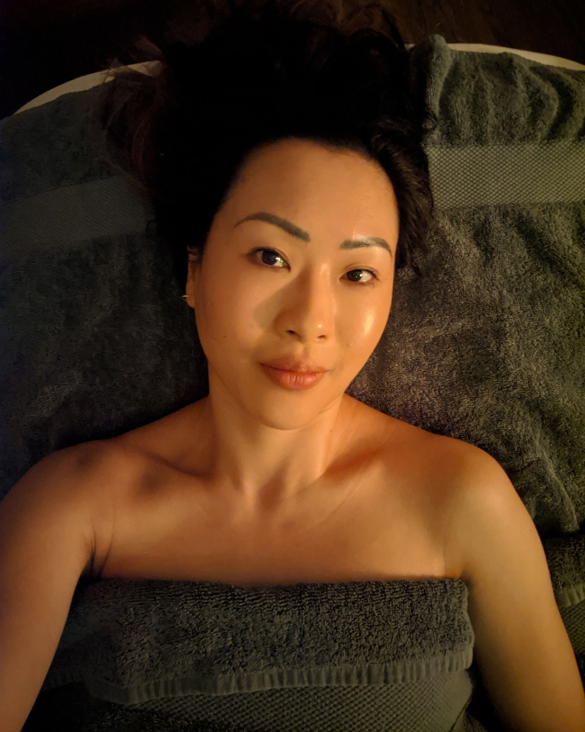 Ting on treatment bed after Lus Spa Renaissance treatment