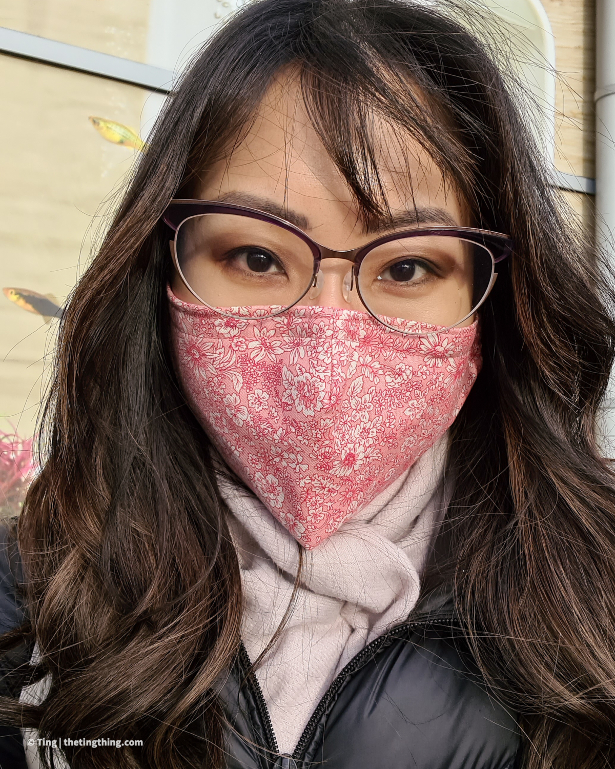 Triple layer face covering with removable nose wire sleeve and filter pocket in pink floral fabric by River Crafter UK on Etsy