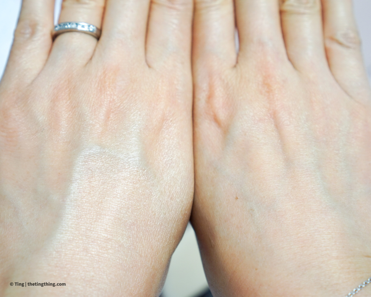 Laura Mercier Pure Canvas Primer Illuminating before and after on the backs of hands