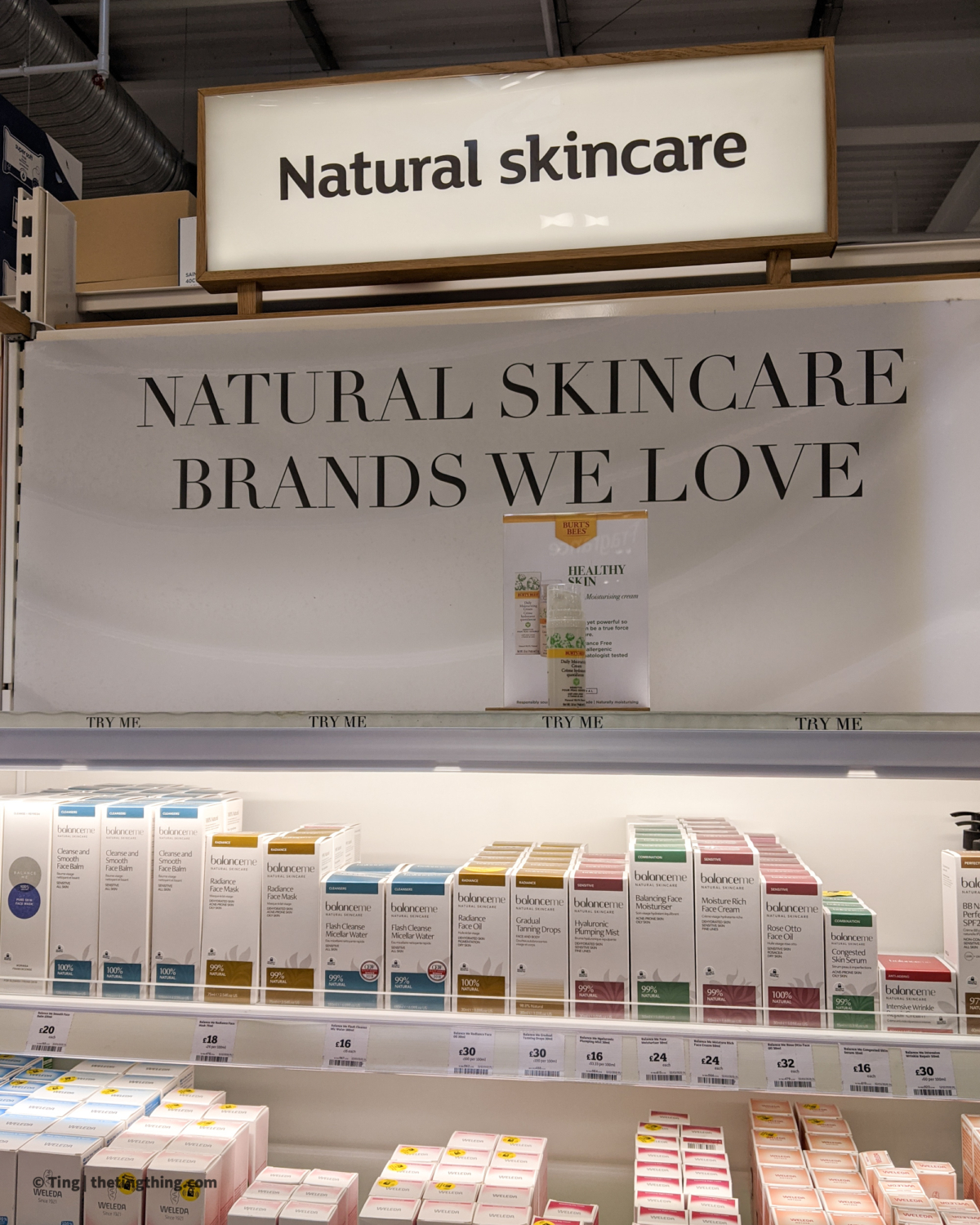 Sainsburys display for natural skincare